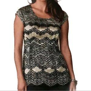 Cabi 100% Silk Chantilly Lace Print Cap Sleeve Top